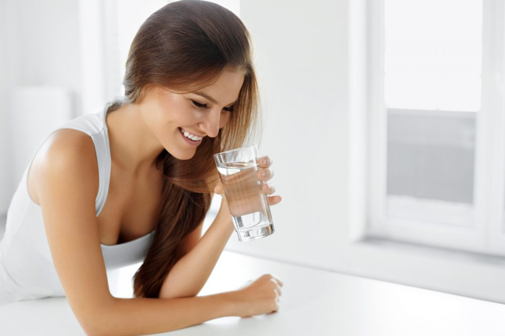 Healthy Lifestyle. Happy Woman With Glass Of Water. Drinks. Health, Diet, Beauty.