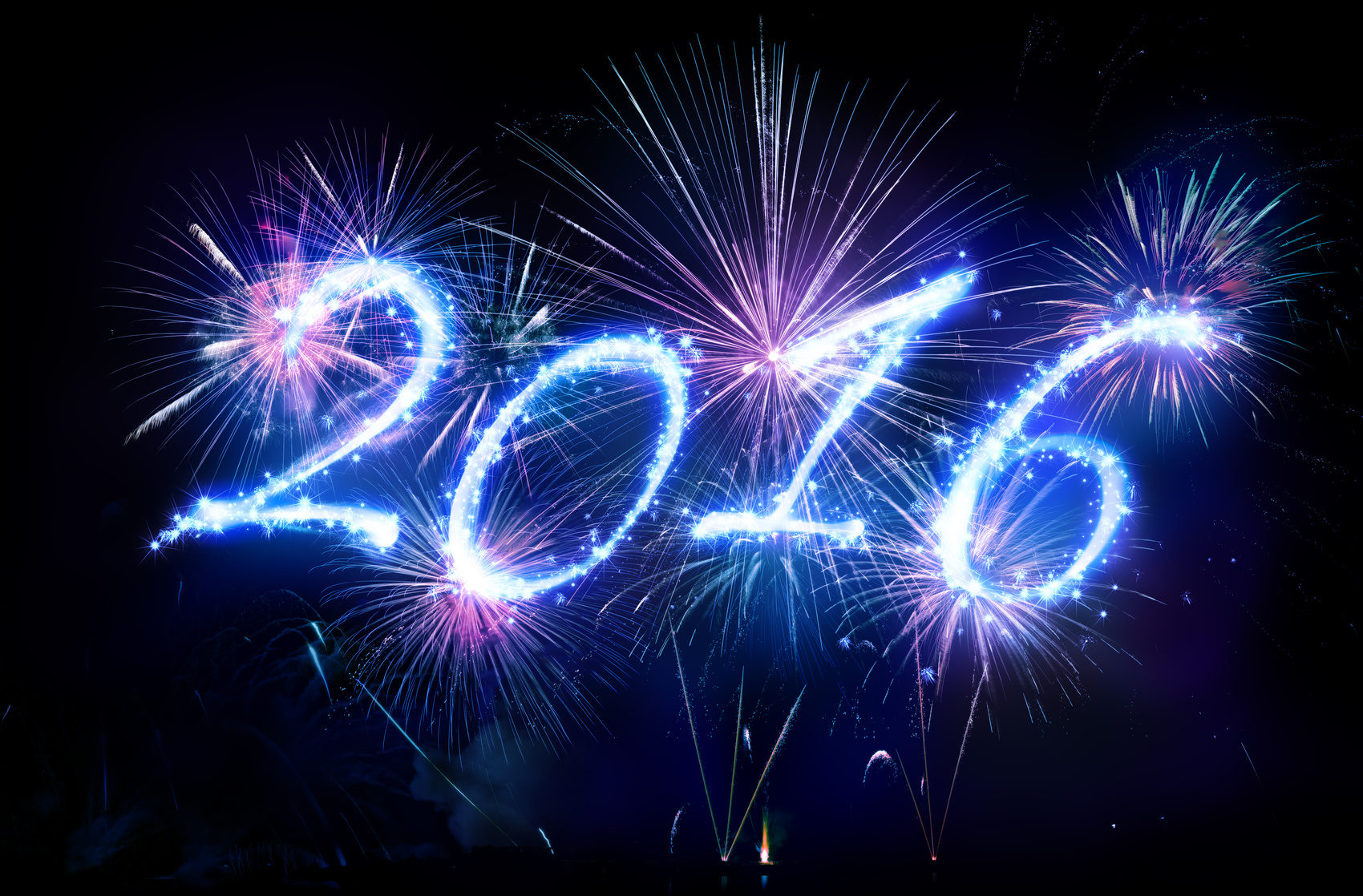 Happy New Year 2016 - Written With Fireworks