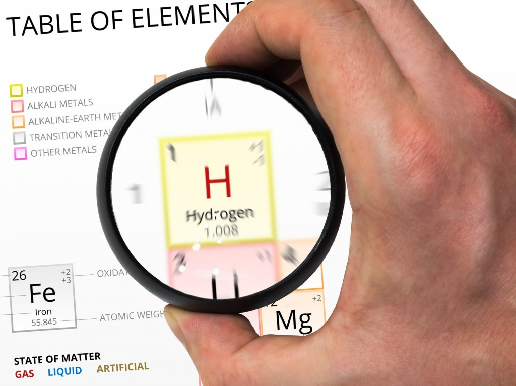 Hydrogen symbol - H. Element of the periodic table zoomed with m