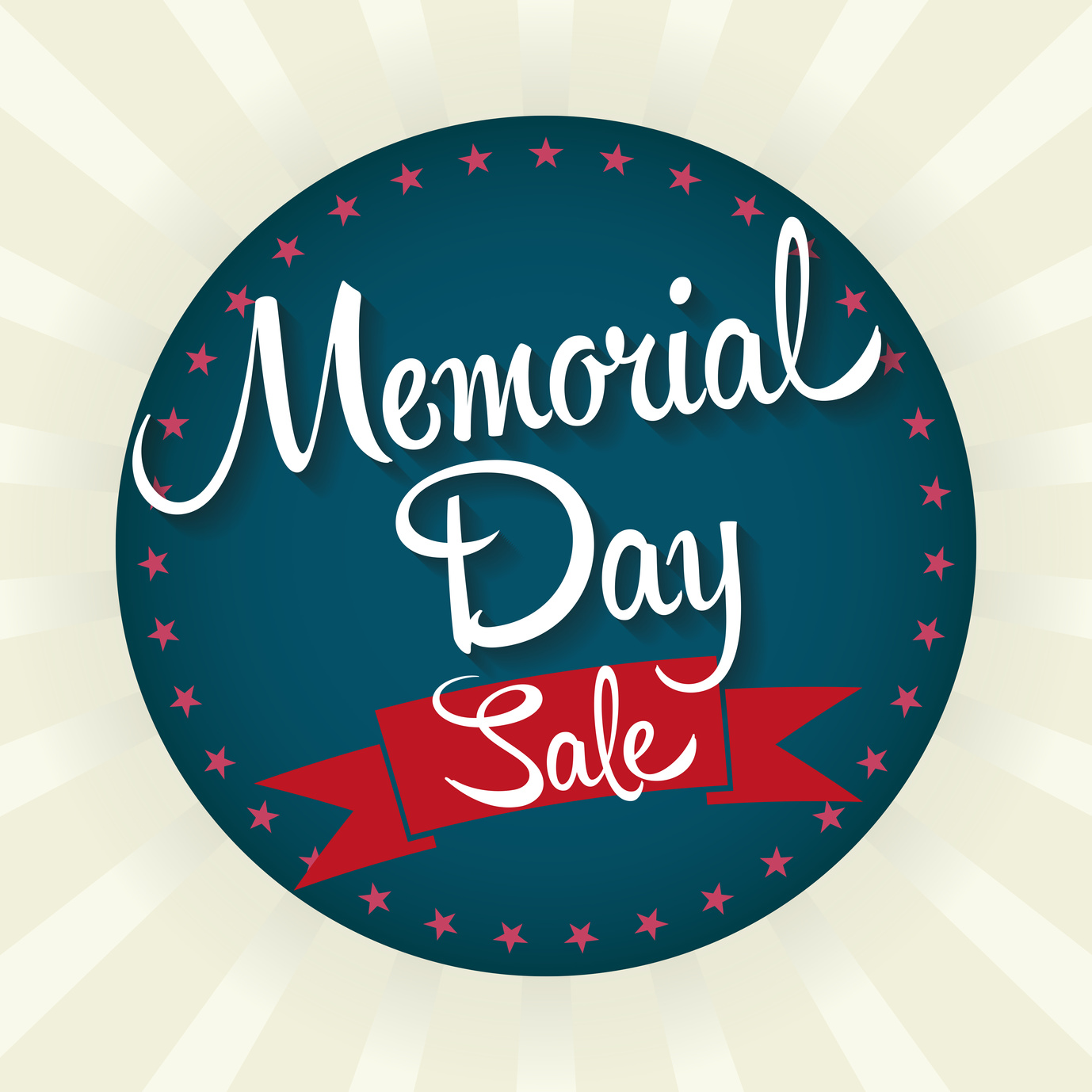 Memorial Day Sale Badge Vector Illustration. Text with Banner and Stars.