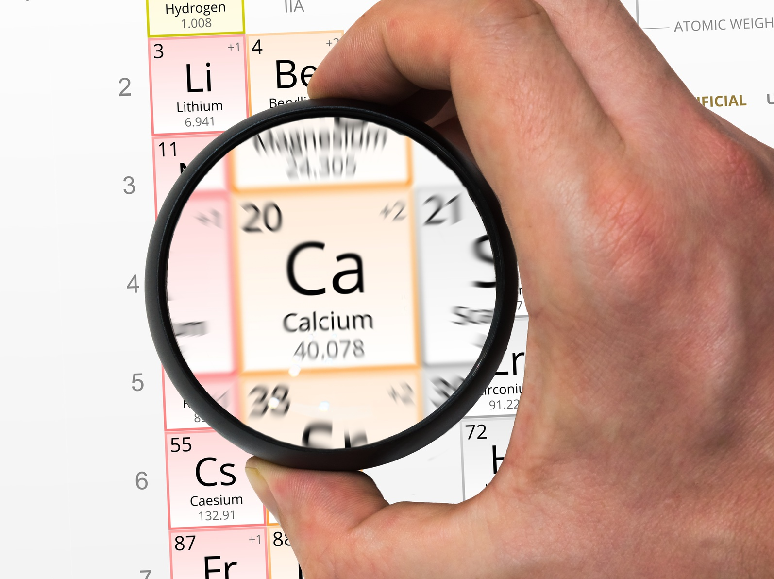 Calcium symbol - Ca. Element of the periodic table zoomed with m