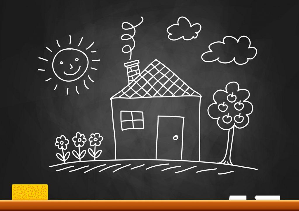 Drawing of house on blackboard