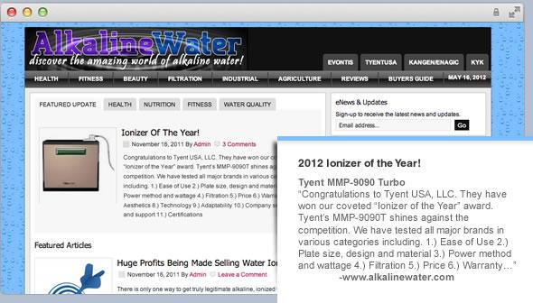 ionizer of the year award