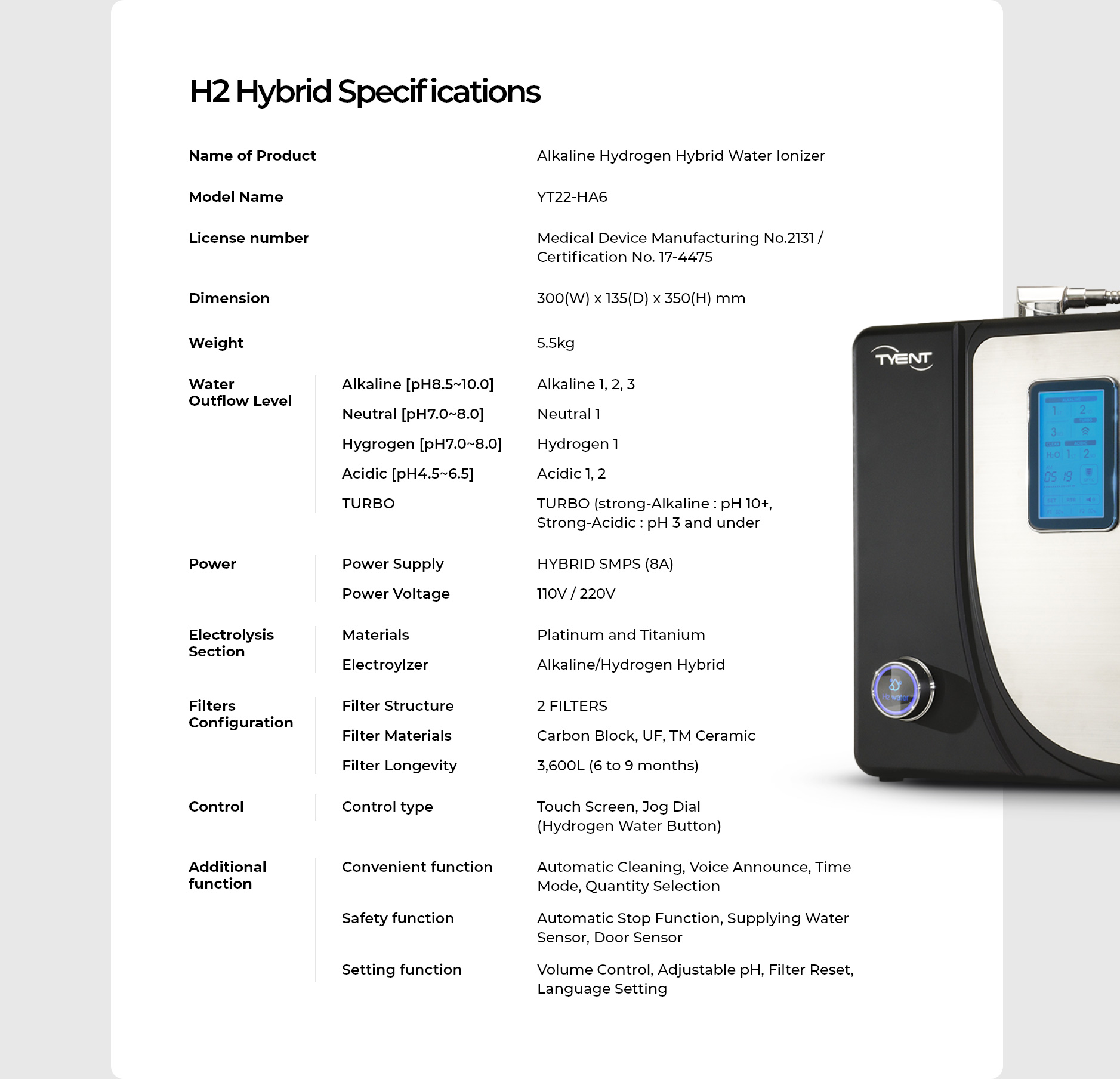 H2 Hybrid Specifications