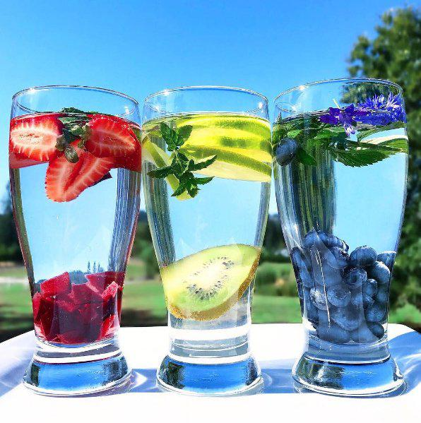 Ionized Alkaline water with fruit slices